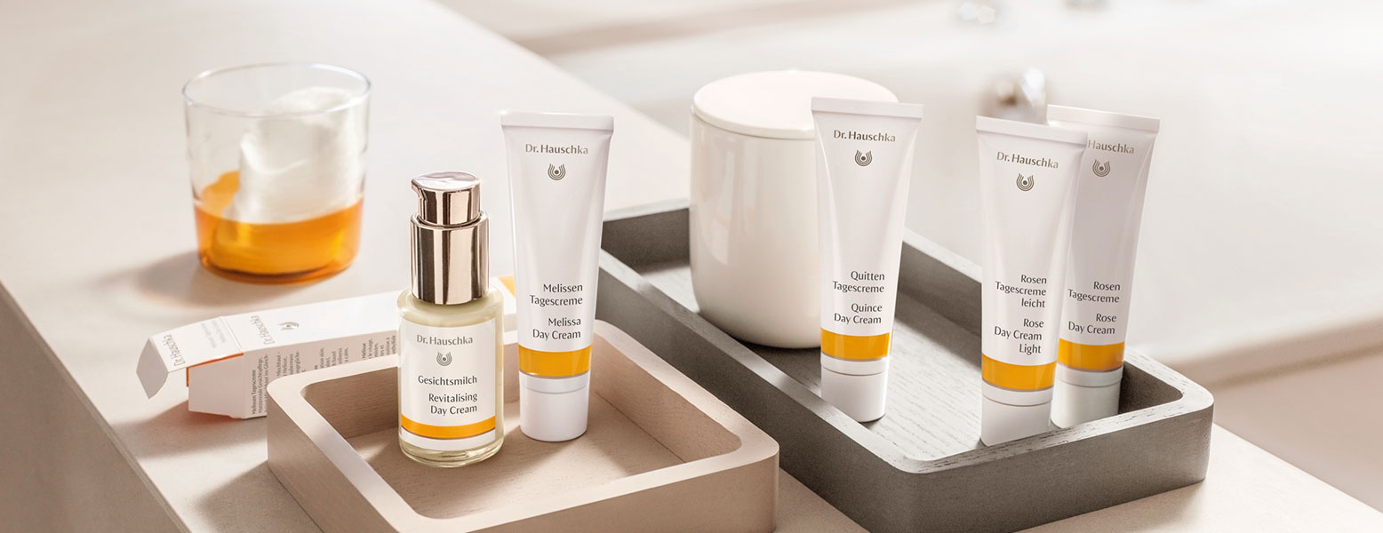 Dr. Hauschka daytime skin care promotion with a free, trial size Facial Toner tailored to the skin condition